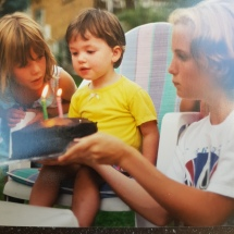 Turning 2 in 1997 - family BBQ in backyard